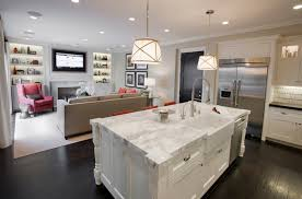 Paint Ideas For Open Living Room And Kitchen Calcutta Marble Counter Tops Farmhouse Sink Cafe Au Lait Walls