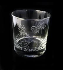 rocks glass fan art inspired get schwifty design custom etched whiskey