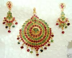 emerald earrings necklace images Nice ruby emerald traditional jewelry pendant with earrings gleam jpg