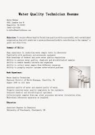 Sample Resume For Sterile Processing Technician by Water Quality Specialist Cover Letter