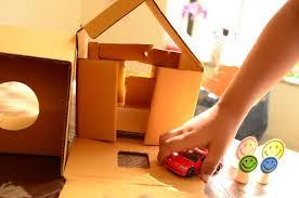practical mom paint a cardboard house