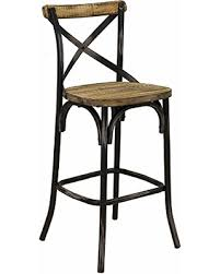 amazing deal on rustic iron bar stool w back reclaimed pine wood