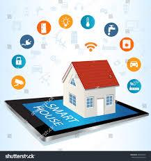 modern digital tablet pc smart house stock vector 395947642