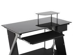bureau informatique pascal 1 tiroir verre trempé noir
