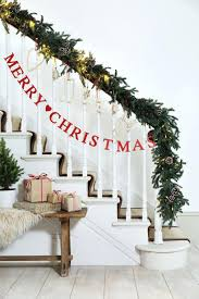 stair rail garland best stairs decorations ideas on