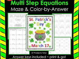 solving equations multi step equations maze u0026 color by answer