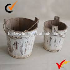 shabby chic antique garden wooden bucket planter with handle buy