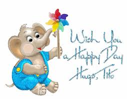 wish you a happy day hugs elephant pinwheel character