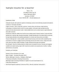 A Teacher Resume Examples by Teacher Resume Sample 28 Free Word Pdf Documents Download