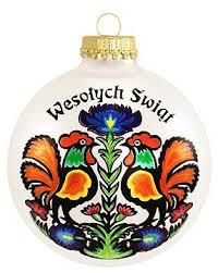 center wesolych swiat wycinanki ornament