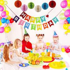 Pom Pom Decorations Happy Birthday Decorations Banner With Set Of 6 Tissue Pom Pom