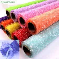 wrapping supplies 50cm 4yards roll snowflake tulle yarn flowers packaging wrapping