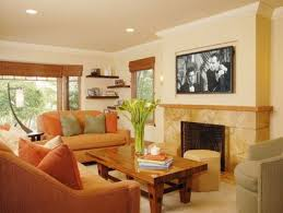 burnt orange living room furniture bright orange sofa and wood