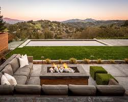 Corner Fire Pit by Wood And Concrete Fire Pit Design Ideas