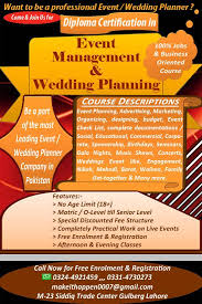 wedding planner certification course diploma certification in event management pakistan ad free ads