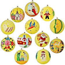 set of 12 yellow paper mache ornaments