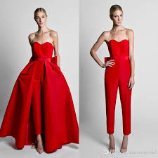 prom jumpsuit silk satin bow back jumpsuit evening dresses with convertible