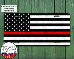 Georgia Flag License Plate Thin Red Line American Flag Fireman Support Firemen Fire
