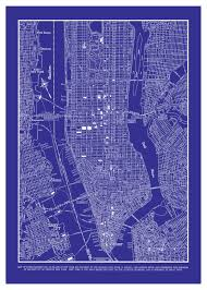 New York City Map Of Manhattan by New York City Map Manhattan Street Map Vintage Blueprint