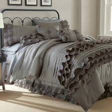 Ruffled Bed Set Anastacia Platinum 8 Ruffled Bed Set