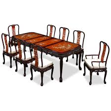 rosewood queen ann grape motif dining table with 8 chairs