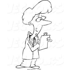 vector of a cartoon female doctor taking notes outlined coloring