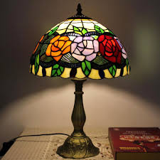 romantic rose pattern alloy base stained glass tiffany lamps