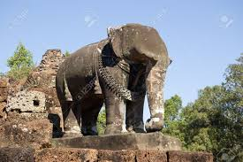 one of the huge elephant statues guarding the corners of the