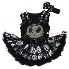 black baby pettitop crown skeleton ruffles black bows rhinestone