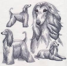afghan hound fabric machine embroidery designs at embroidery library embroidery library