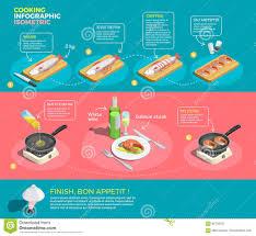preparing salmon steaks infographics stock vector image 92736522