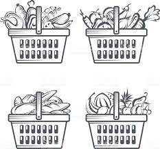 fruit and vegetable baskets baskets with sausages fruit vegetables and bakery stock vector