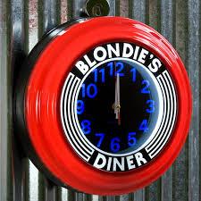 blondie u0027s diner red lighted clock vintage diner clocks