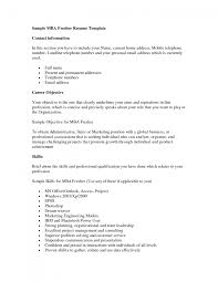 Resume Format For Mba Marketing Fresher Sample Resume Career Objective For Freshers