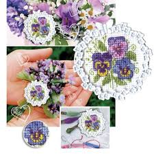 rto pansy bouquet counted cross stitch kit