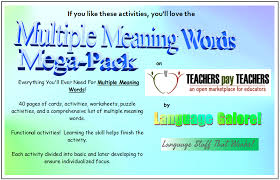 these meaning multiple meaning words activities worksheets word lists and