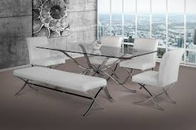 adderley modern stainless steel w glass top dining table