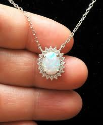 white opal silver necklace images White opal necklace diamond accent pendant silver october jpg