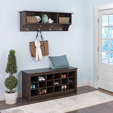 Entry Way Bench And Shelf Dark Brown Wood Entryway Bench With Shoe Racks Underneath