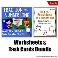 fractions on a number line task cards and worksheets bundle