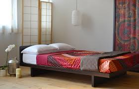 Japanese Bedroom Furniture Furniture Cream And Brown Wooden Platform Bed With Head Board And