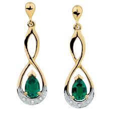 emerald drop drop earrings with created emerald diamonds in 10kt yellow