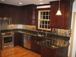 glass and metal backsplash tile stainless steel subway kitchen