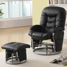 swivel glider chairs living room black letherette modern swivel glider chair w ottoman