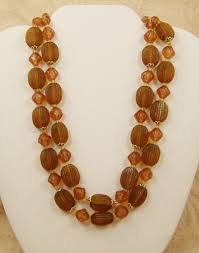 multi crystal necklace images Necklace vintage multistrand amber brown crystal plastic bead west jpg