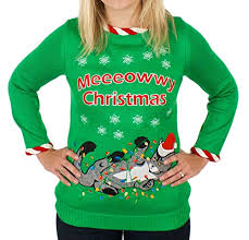 Ugly Christmas Sweater With Lights Tangled Cat Ugly Christmas Sweater With Lights For Women Ugly