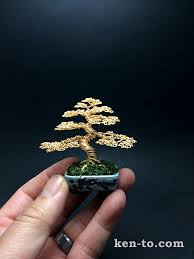 gold wire bonsai tree ornament by ken to 91210141