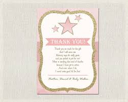 baby shower thank you card pink gold thank you