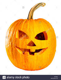 scary head jack o lantern halloween pumpkin isolated on white