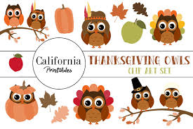 thanksgiving owl clip illustrations creative market